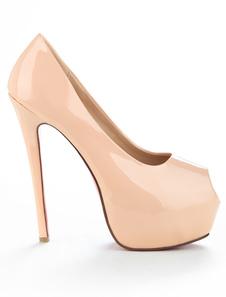 Nude High Heels Platform Peep Toe Patent Leather Slip On Pumps Women Dress Shoes
