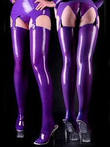 ストッキング,全身タイツアクセサリー 紫色 コスチューム 仮装パーティー セクシー 光沢がある ハロウィン