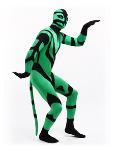 Costume Carnevale Vestito multicolore collant completo con fori per occhi animali verde nero per adulti bicolore tuta lycra spandex unisex