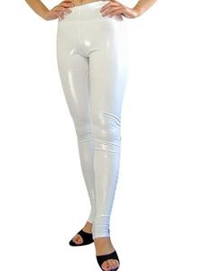 Белый блестящий металлический сексуальные брюки Хэллоуин