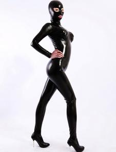 Macacão de látex de abrir os olhos da mulher de preto Halloween