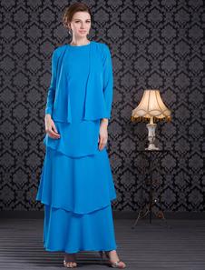 Vestido para la madre de la novia de gasa de color azul de estilo moderno