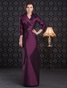 Виноградной оболочки v-образным вырезом плиссированные платье из тафты мать для новобрачных с рукавами 3/4 длины
