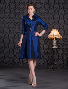 Azul Royal com decote em v mãe do vestido da noiva