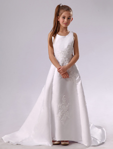 White Flower Girl Dress Backless Applique Satin Dress
