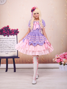 Doce Lolita rosa roxo OP vestido mangas curtas camadas arcos e Trim