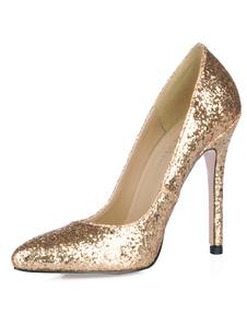 Золотой отметил мыс шпильки блесток ПУ Женская обувь