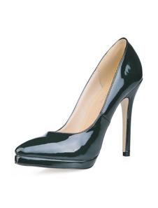 Zapatos De Tacones Altos Negros Punta Puntiaguda Sin Cordones Zapatos De Vestir