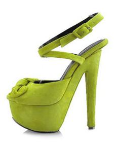 جلد الغزال الأخضر مثير جلدية القوس زقزقة إصبع القدم أحذية