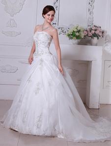 Vestido de noiva Branco Sem alças Lace Embroidered Decote Coração Decote Organza Cetim Side Draped Com Cauda