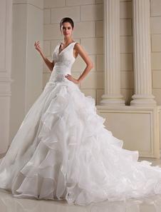Vestidos de novia Organza Ruffles V cuello nupcial vestido Dropped cintura rebordear plisado capilla vestido de boda del tren