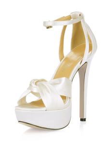 أحذية الزفاف العاج منصة المفتوحة تو معقود رباط الكاحل الصنادل عالية الكعب