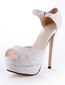 Sandali bianchi di pizzo con tacco alto per donna