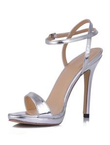 Cinta do tornozelo aberto Toe vitrificado sandálias das mulheres vestido de PU