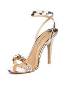 Sandálias De Salto Alto 2020 Ouro Open Toe Strasss Tira Sapatos No Tornozelo Sandálias Das Mulheres Do Partido