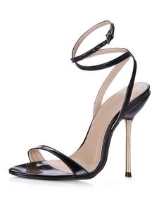 Sandalias negras con tira de tacón de aguja