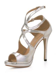 Sapatos de salto alto do Prata PU tira couro Cut Out mulheres sexy