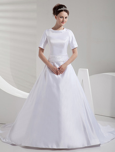 Классический белый лук Jewel шеи короткими рукавами-Line атласная свадебное платье