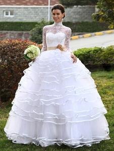 ديلوكس الكرة ثوب أبيض عالية الياقة المتدرج تول فستان الزفاف الزفاف ميلانو