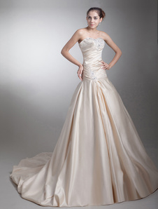 Vestido de casamento da noiva Strapless champanhe tafetá com bola vestido querida pescoço de perolização