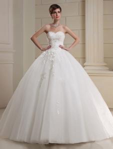 Vestido de novia sin tirantes de tul vestido de novia flores rebordear plisado cariño escote palabra de longitud vestido de novia
