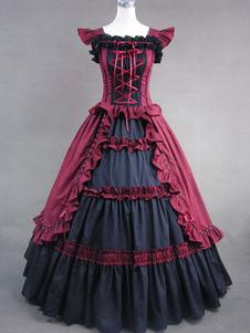 خمر زي ثوب المرأة الفيكتوري الأحمر القطن الكشكشة ريترو ماكسي اللباس هالوين