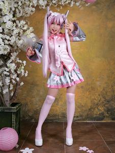 Disfraz Carnaval Traje de color rosa de Hatsune Miku para cosplay de VOCALOID de estilo dulce Halloween Carnaval