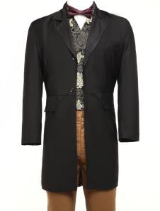 Sobretudo de retrô dos homens traje do Vintage Victorian casaco preto Halloween