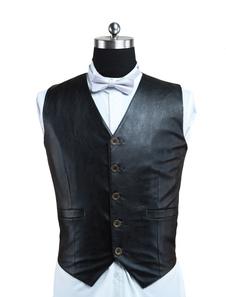 الرجل صدرية Steampunk زي الرجعية السوداء بدلة سترة جلدية