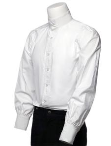 Manga longa branca Stand colarinho camisas de vestido Vintage Steampunk retrô camisas masculinas Halloween