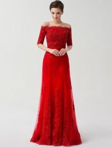 Vestido de novia rojo hasta el suelo de línea A De banda de encaje de lujo Salón