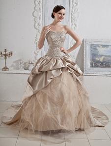 Abiti da sposa Champagne senza spalline Abito da ballo Abito da sposa Paillettes Perline Increspato Fiori Collo Corte Train Color Wedding Gown