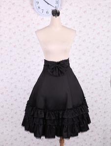 Cintura alta preto elegante Lolita saia babados arco e guarnição do laço