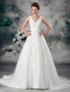Vestido de casamento nupcial  Bola de marfim clássico  com decote em v Beading tule com Design Off-a-ombro