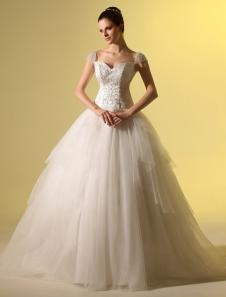 Vestido de casamento nupcial marfim-line querida pescoço flor lantejoula