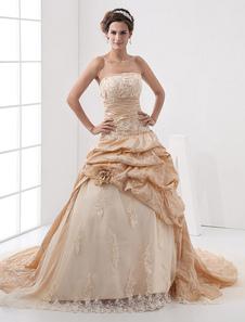 Abiti da sposa senza spalline Abiti da ballo senza spalline Fiori di applique di pizzo increspato cappella treno abito da sposa principessa