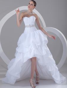 Abito da sposa bianco senza spalline alto basso abito da sposa strass bordato increspato scollo a cuore abito da sposa