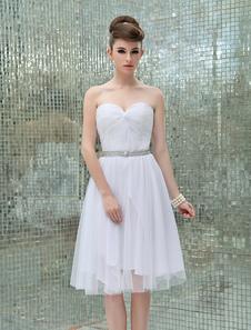 Semplici Abiti da Sposa 2020 Bianco Senza Spalline Perline Lunghezza al Ginocchio Un Abito da Sposa con Scollo a Cuore