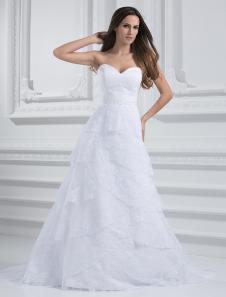 Vestido de casamento chique querida a linha branca garganta do Sequin Lace