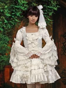Puro Blanco Lolita Enterizo Vestido Larga Hime Mangas Encaje Trim Lazos
