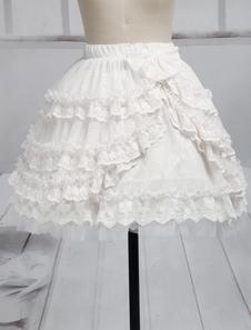 Laço branco puro Lolita saia curta laço babados guarnição