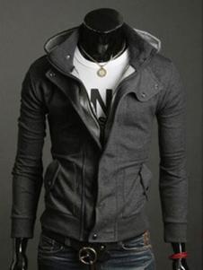 Hoodie для мужчин Терри Turndown Воротник с длинным рукавом карман глубокий серый Повседневный свитер