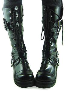 Scarpe da Lolita nere in PU con fibbie e tacco spesso alla tibia