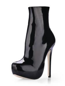 Черный миндаля мыс патентных женщина высокой пятки пинетки
