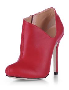 Botines de PU rojo con cremallera de estilo sexy
