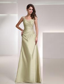 結婚式 母親ドレス Aライン ミセスドレス フォーマル セージグリーン ウェディングパーティードレス スクエアネック 七分袖 お呼ばれ 謝恩会 成人式 二次会 タフタ 結婚式のお呼ばれドレス ロング丈 バックレス プリーツ ウェディング