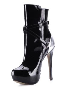 جولة اصبع القدم مشبك بو الجلود منتصف العجل الأحذية
