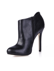 Stivali alla caviglia neri in pelle di PU
