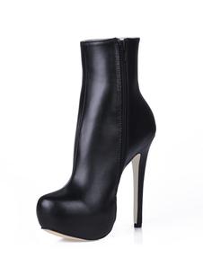 Высокие каблуки сапоги Черная платформа Round Toe Zip Up Ботинки для лодыжки Женская обувь