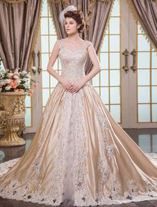 Vestido de noiva champanhe princesa em cetim com cauda e aplique de pedras e renda Milanoo